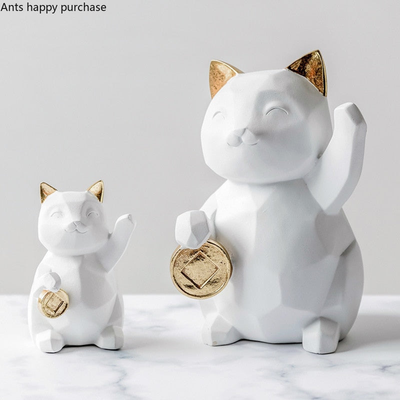 White Lucky Cat Golden Ears Resin Decoration Ornaments