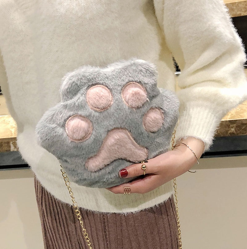 Cartoon Cat Claw Paw Soft Plush Purse Bag