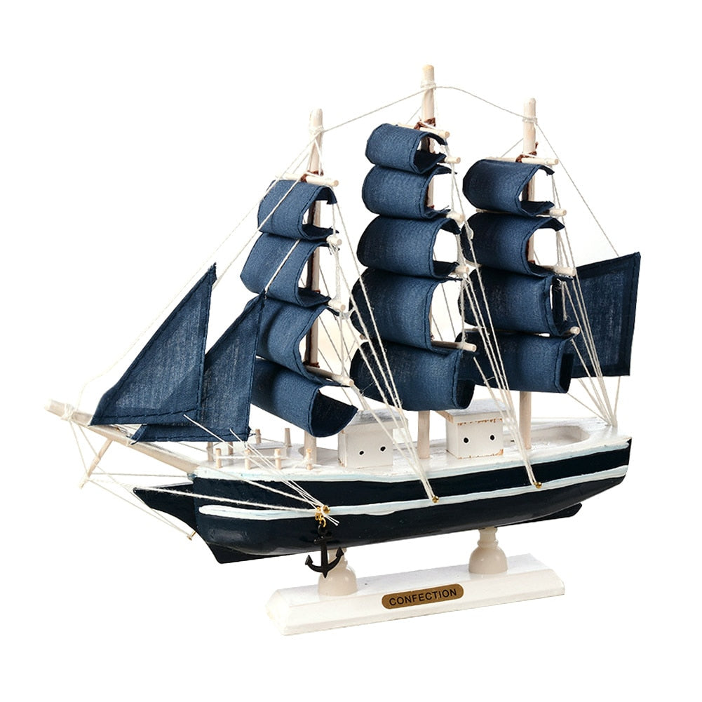 Mediterranean  Wooden Sailing Ship Nautical Boat Home Decoration