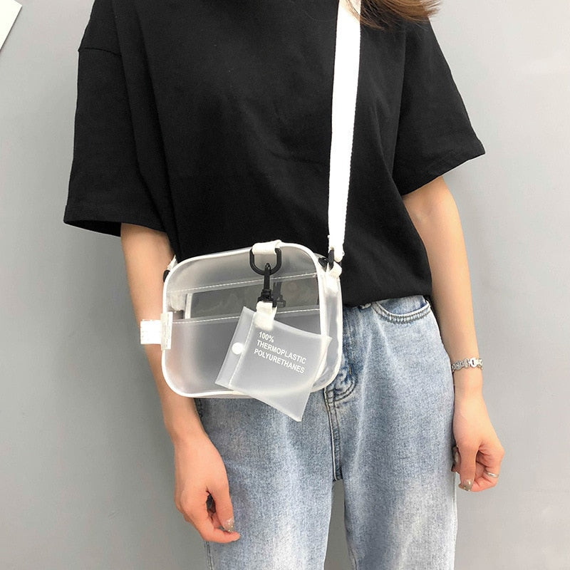 Jelly Transparent Clear PVC Casual Purse Crossbody Shoulder Bag