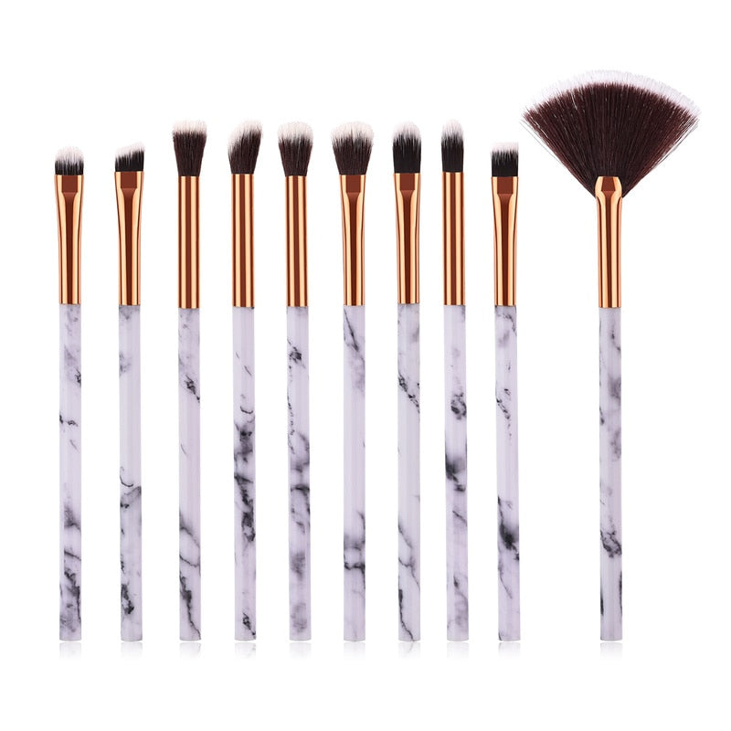 10pcs / Set Marbling Make Up Brushes Kit Marble Pattern Brush Set Eye Shadow Cosmetic Tools