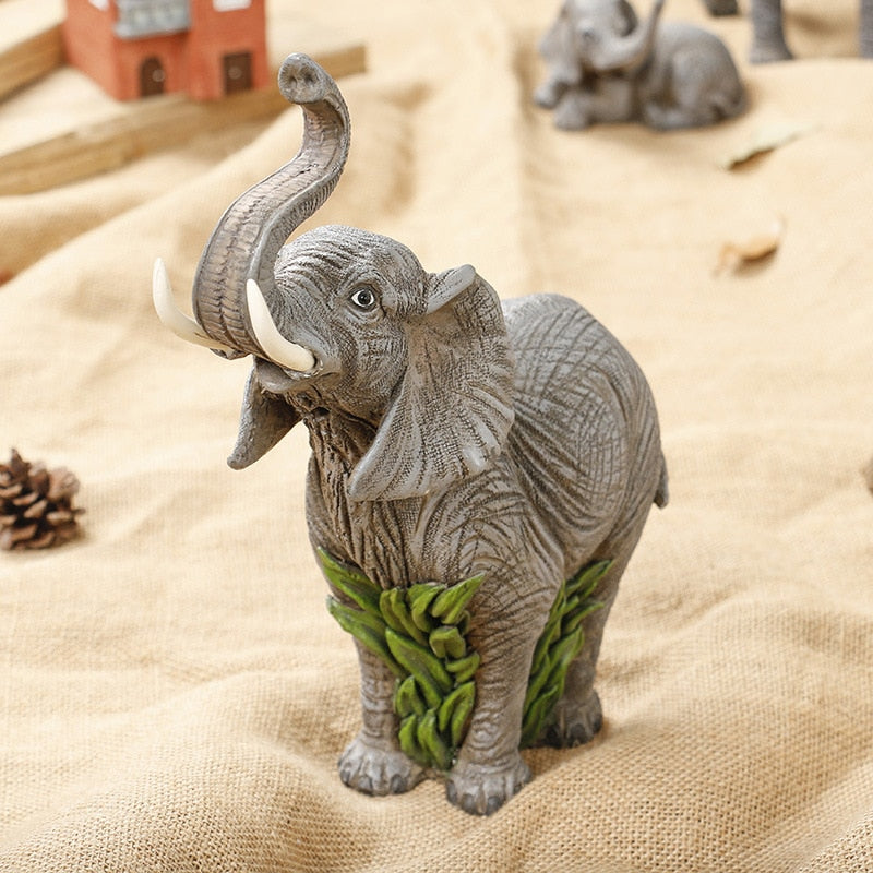 Lucky Wealth Elephant Statue Resin Home Decoration Figurine