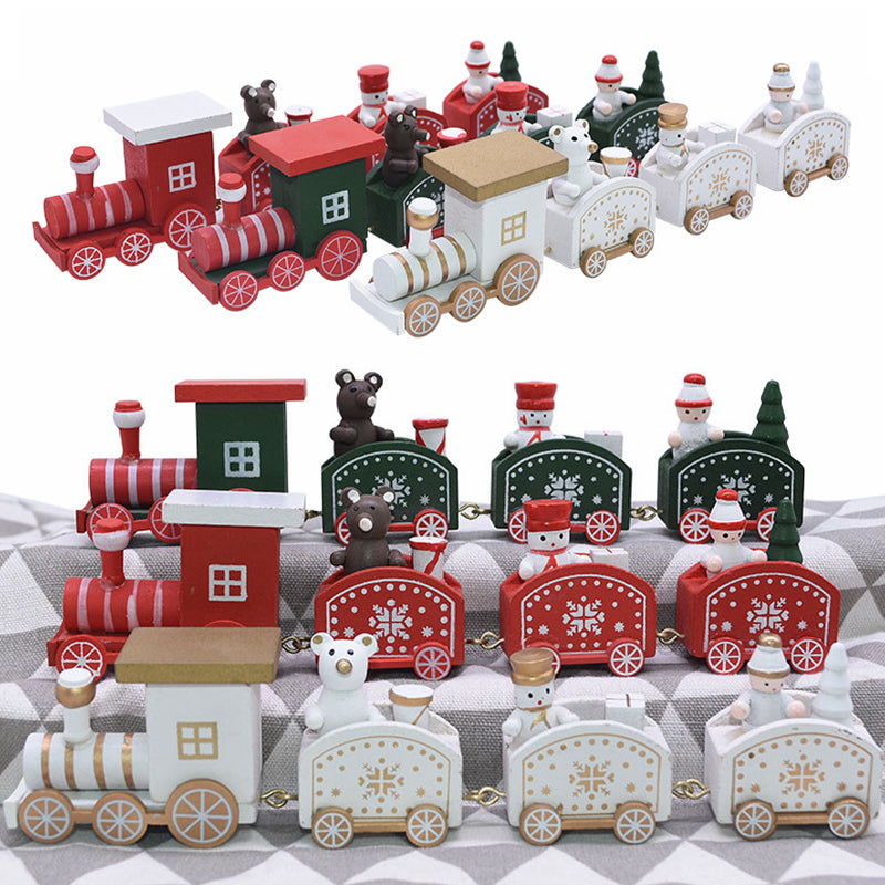 Mini Christmas Train Wooden Toy Ornament for New Year Party Decoration