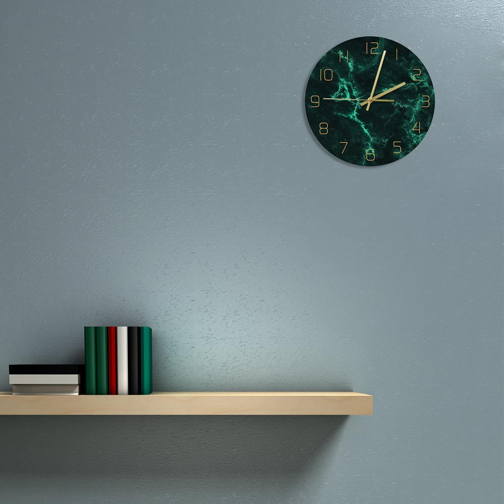 Green Marble Pattern Minimalist Art Wall Clock Home Decor