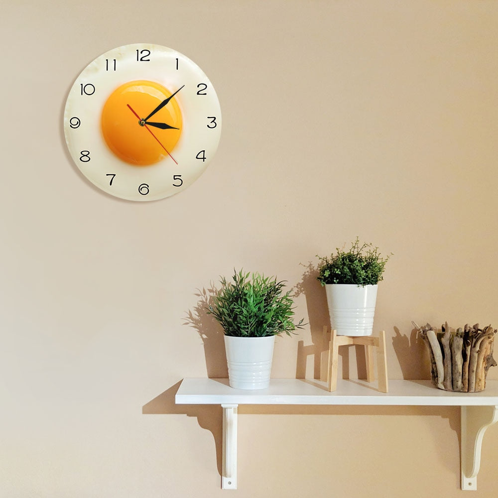 Fried Egg Sunny Side Up Design Wall Clock Kitchen Decor