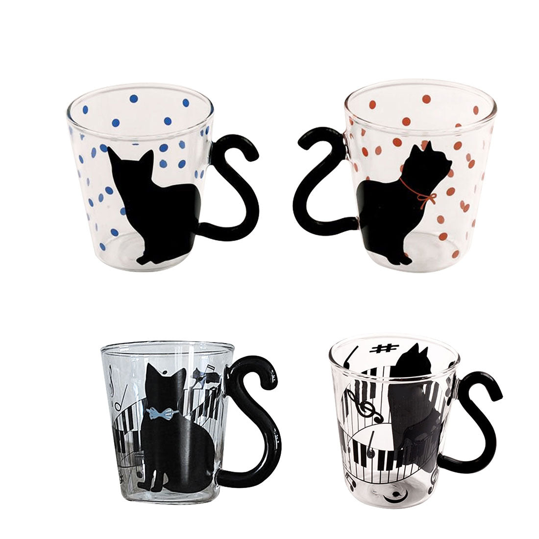 Polkadot Music Cat Kitty Glass Mug Cup Tea Cup