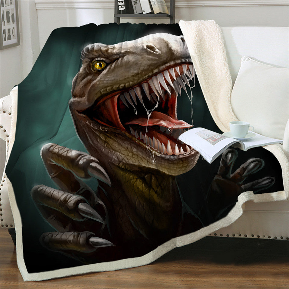 Raptor Dinosaur Jurassic Soft Sherpa Fleece Blanket