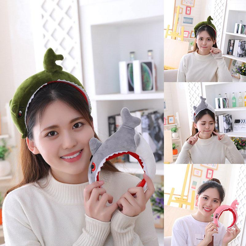 Cute Dinosaur Shark Short Plush Hairband Hair Hoop
