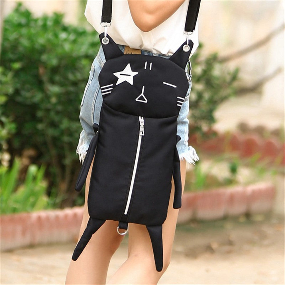 Funny Long Black Cat Canvas Shoulder Bag