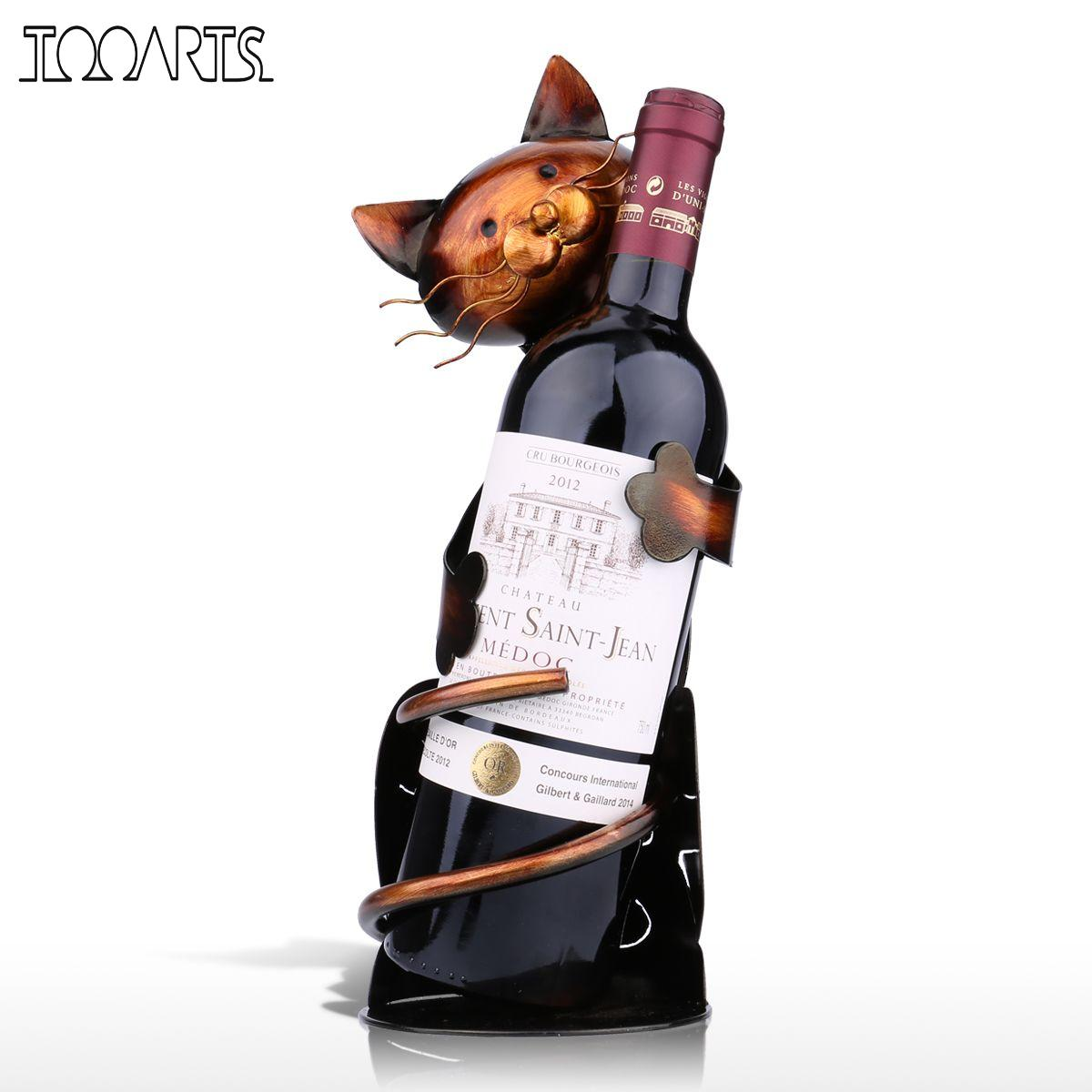 Cat Hug Wine Bottle Sculpture Metal Wine Holder Wine Stand