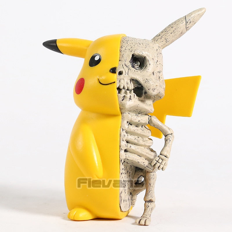Anime Pikachu Pokemon Half Monster Skeleton PVC Figure Model Toy