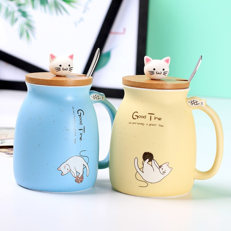 Cute Canday Color Cat 450mL Mug With Lid and Spoon