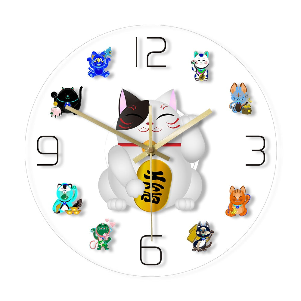Cute Maneki Neko Fortune Lucky Cat Wall Clock Home Decor