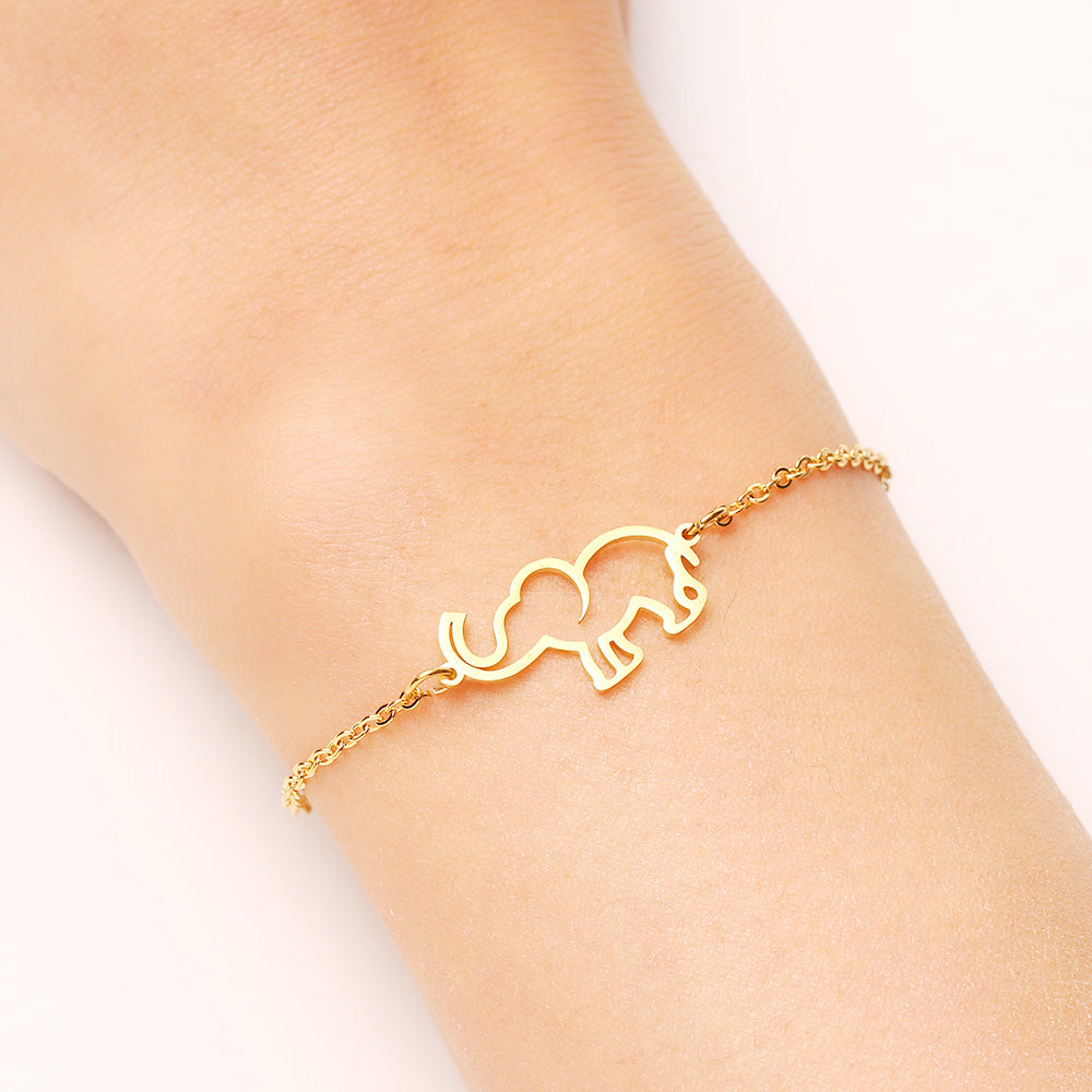 Stainless Steel Bracelet For Women Gold And Silver Color Origami Elephant