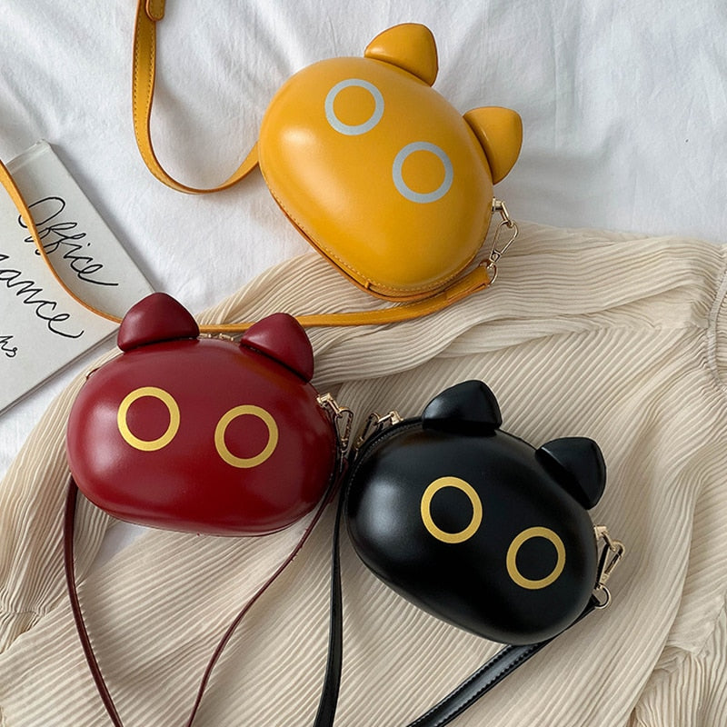 Cute Small Cat Round Shaped Hard Shell Leather Crossbody Shoulder Bags