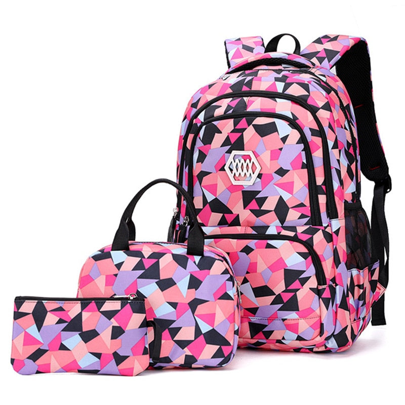 3Pcs/Set Street Fashion Plaid Pattern Large Capacity Backpack School Book Bag