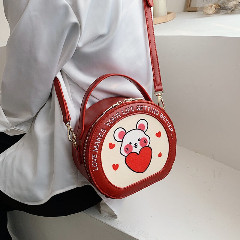 Cute Heart Happy Mouse  Leather Purse Handbag