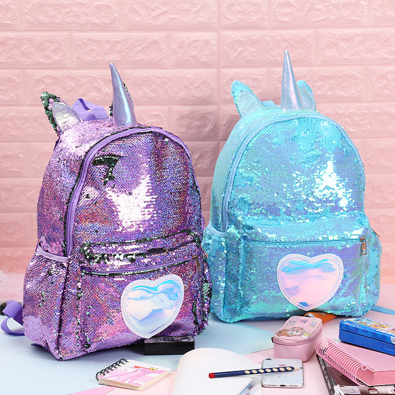 Sequins Unicorn Horn Large Capacity Leather Backpack Book Bag