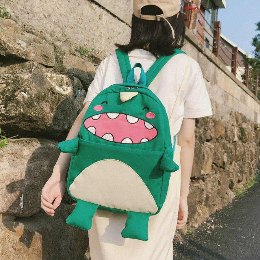 Cute Dinosaur Monster Canvas Backpacks Bookbags