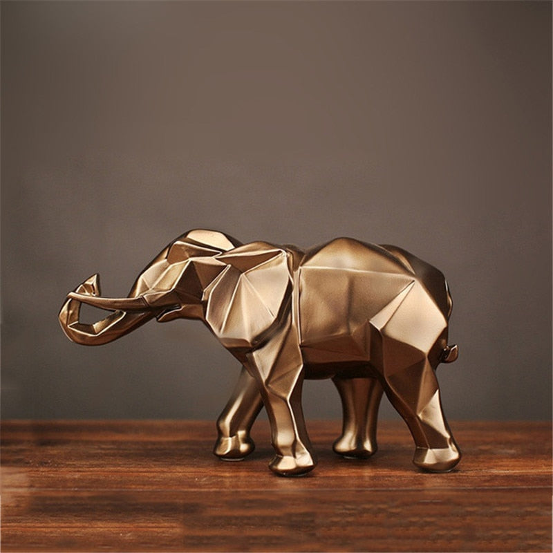 Miniature Golden Elephant Resin Figurine Desk Decoration