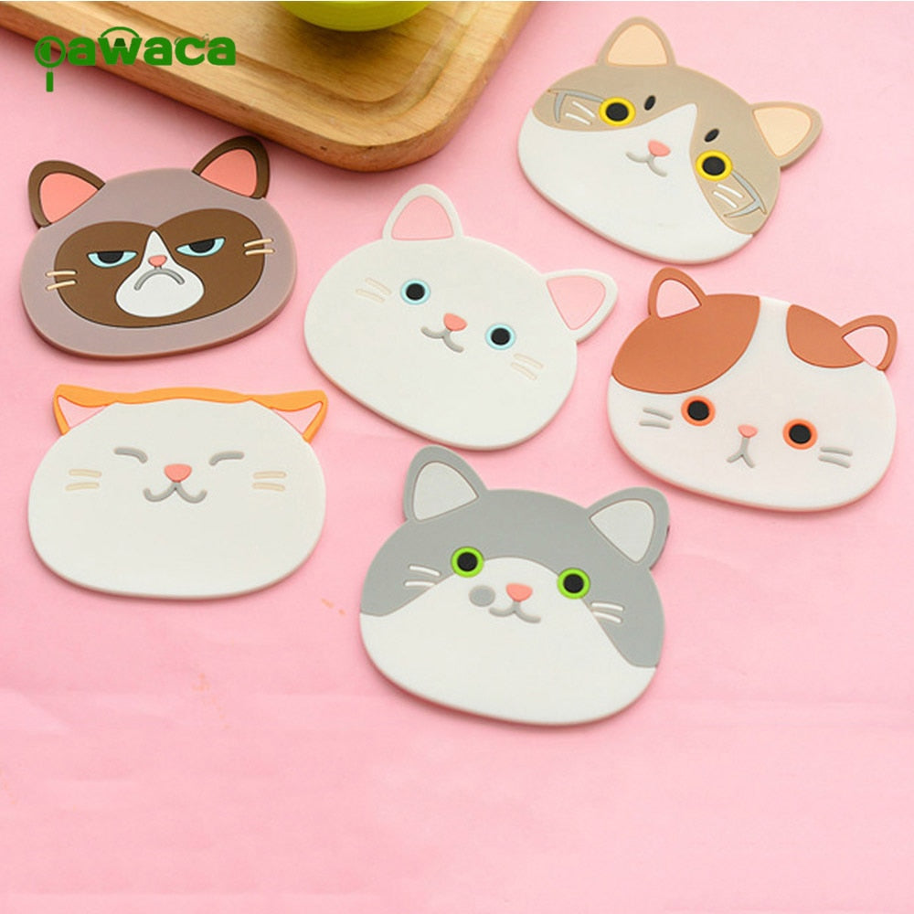 6Pcs/Set Cartoon Cat Kitten Silicone Anti- Slip Pad Drink Holder