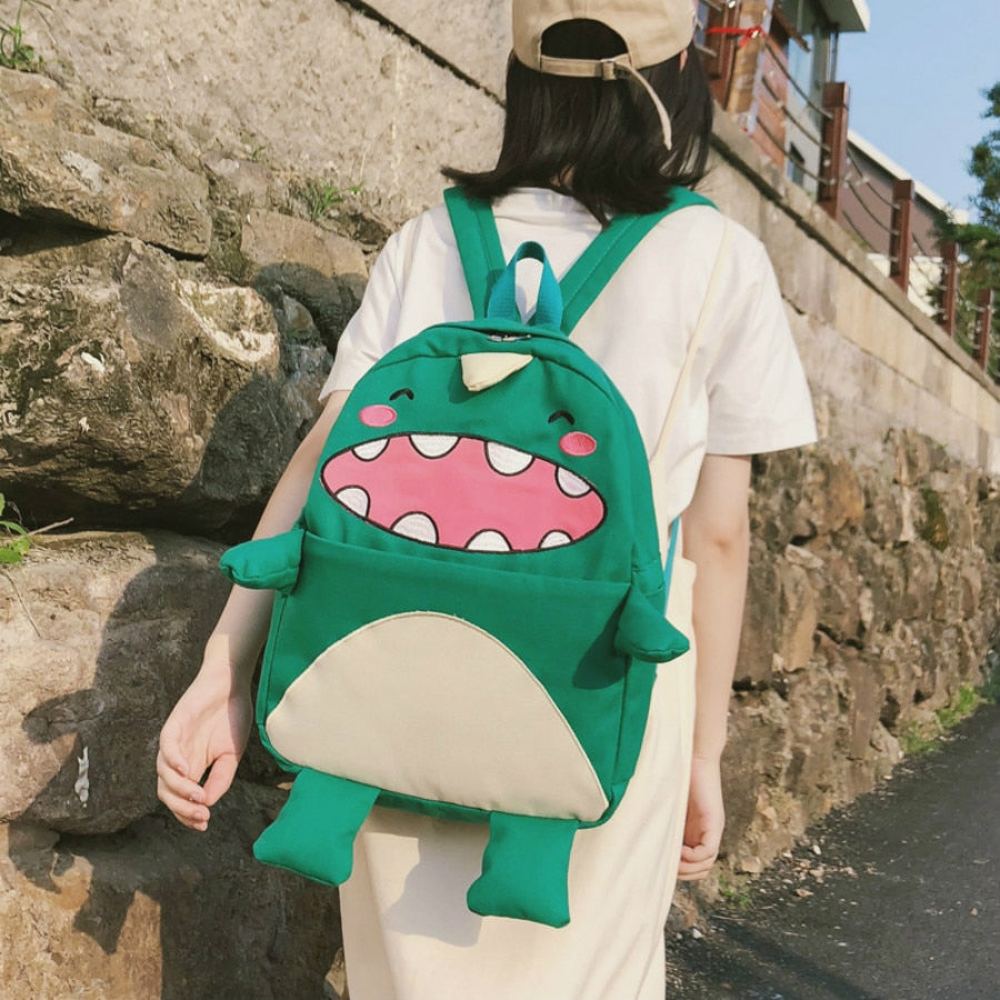 Cute Cartoon Dinosaur Monster Large Capacity Canvas School Bag Backpacks