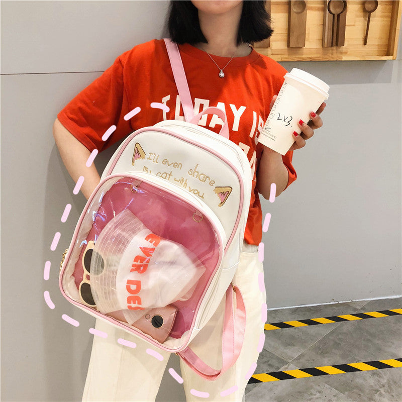 Cute Cat Transparent Front Pocket Waterproof Leather Backpack School Bag