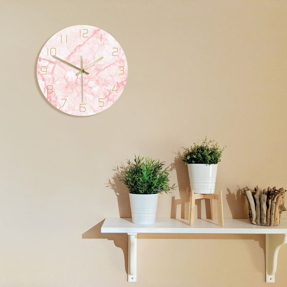 Pink Marble Pattern Non Ticking Silent Round Wall Clock