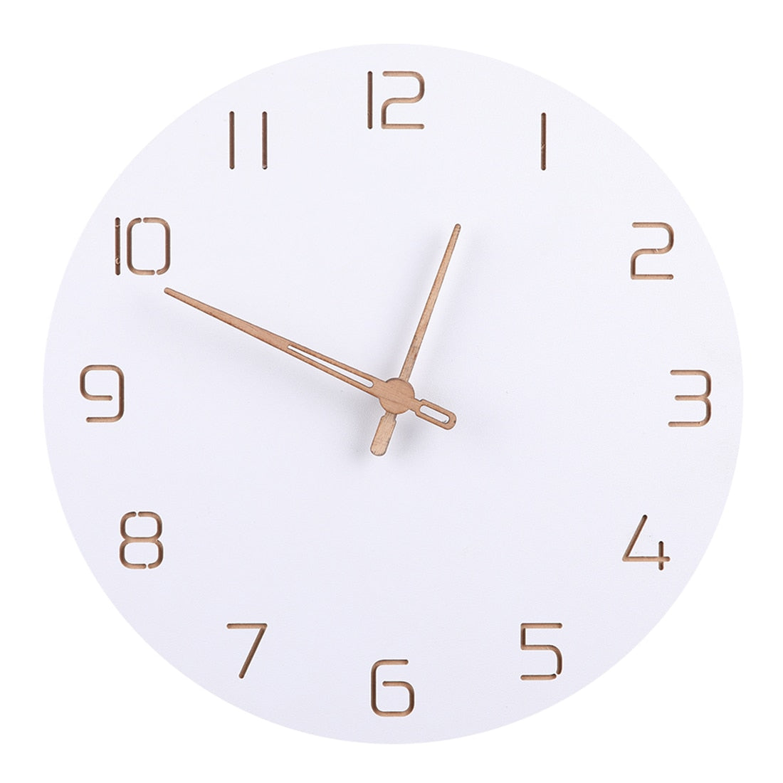 Minimal Pure White Gold Hand 12 Inch Simple Silent Wall Clocks
