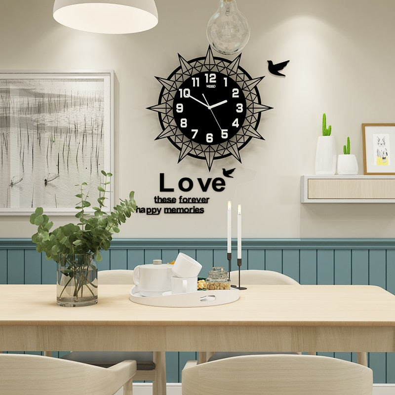 3D Geometric Large Wall Clock Modern Design With Wall Stickers