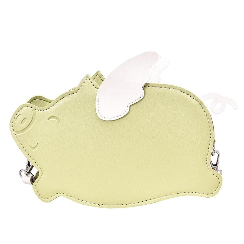 Cute Little Pig with Wing Leather Candy Color Purse Shoulder Bag