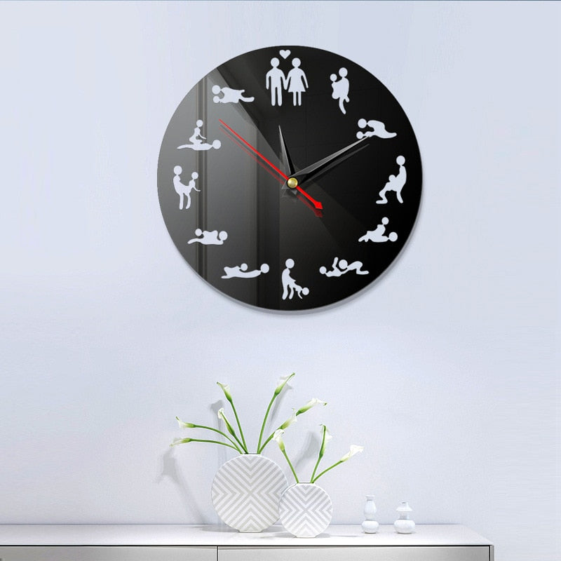 Shiny Laser Funny Sex Love Position Wall Clock