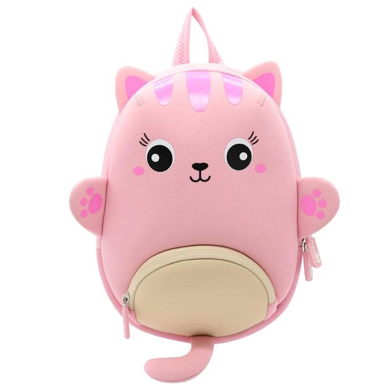 Pink Cat Oval Shape Waterproof Light Weight School Bag