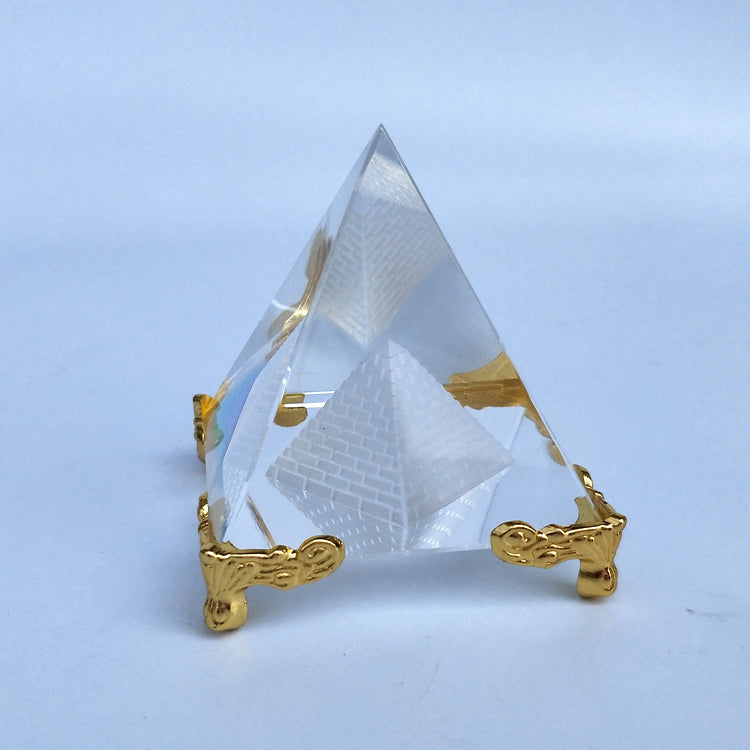 Energy Healing Egyptian Crystal Clear 40 cm Pyramid Ornament Home Decor Decoration