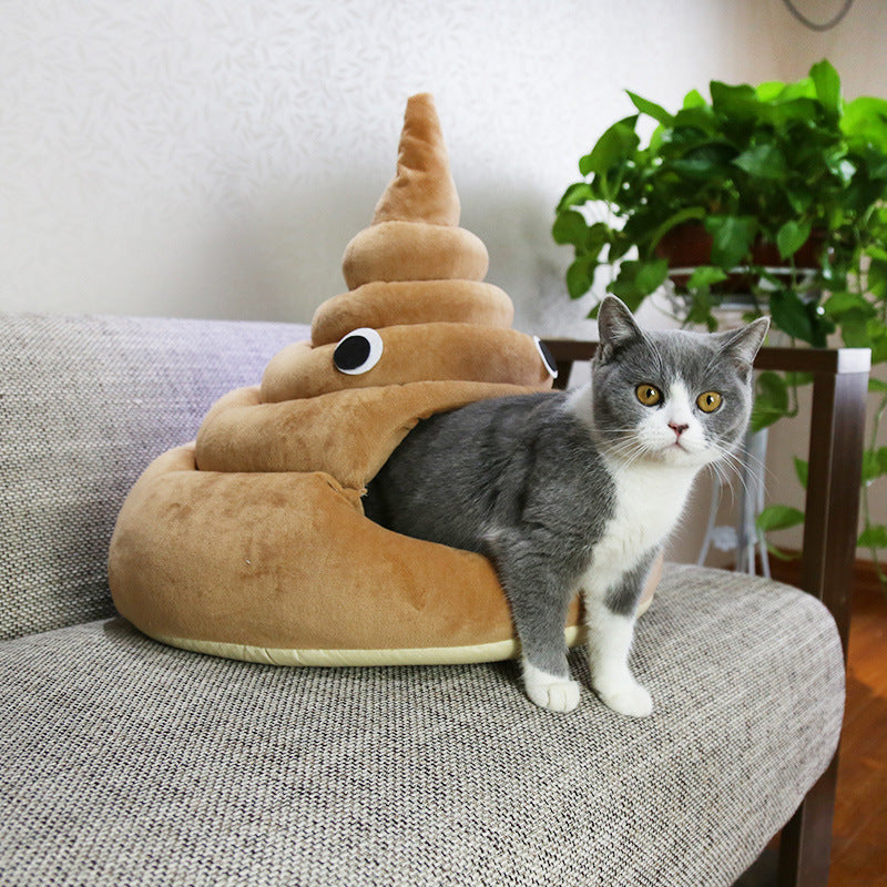 Funny Poop Cat Bed Soft Plush Cat House
