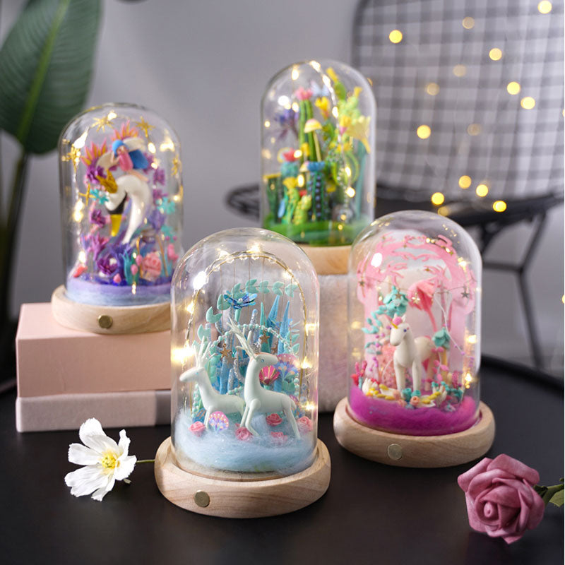 Fairy Unicorn Sean DIY Model Clay Toys With Led Light Glass Cover