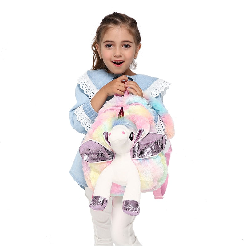 Cute Pony Unicorn Doll Plush Backpack for Girls