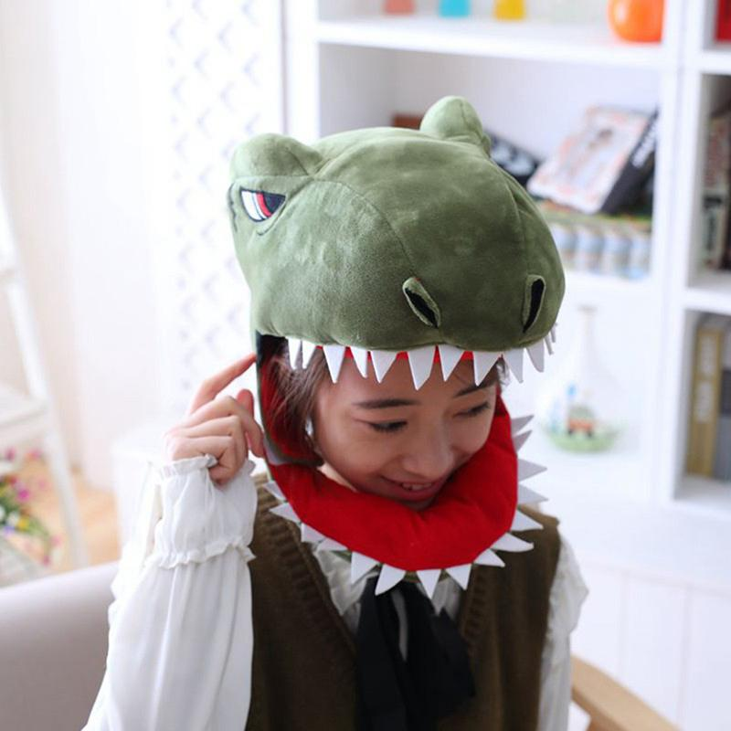 Cute Dinosaur Shark Short Plush Headgear Hat Girls Costume