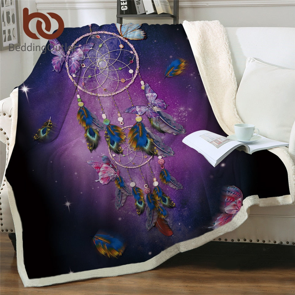 Butterfly Dreamcatcher Sherpa Fleece Blanket