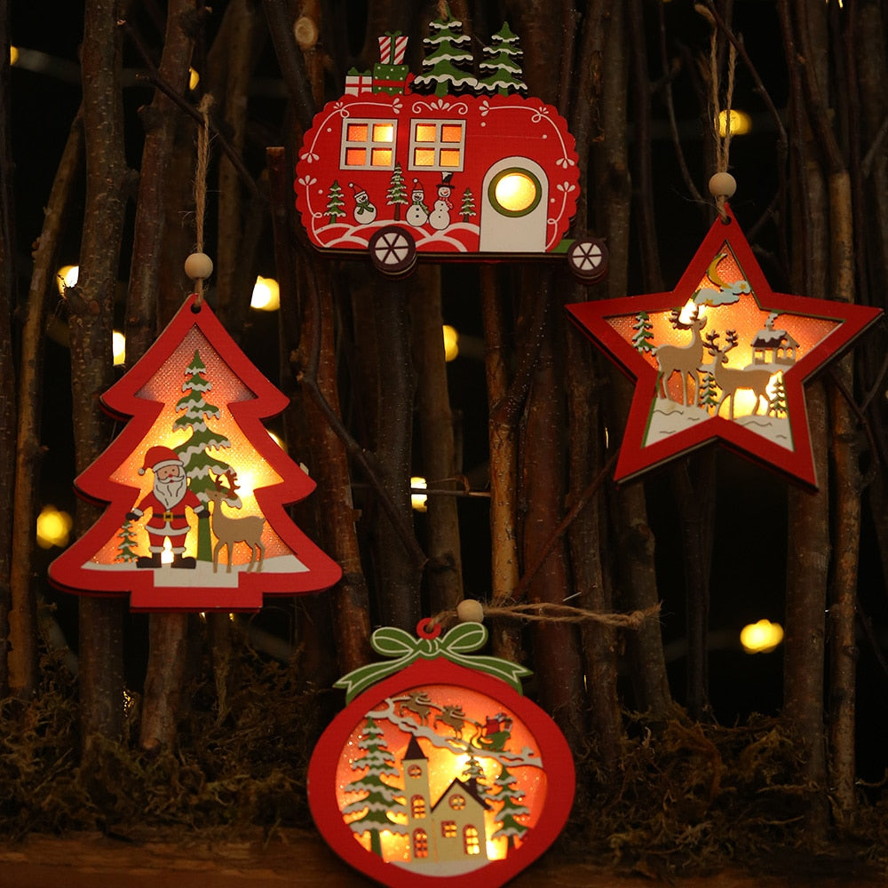 Wooden Led Light Christmas Tree Hanging Pendant Ornament New Year Decoration