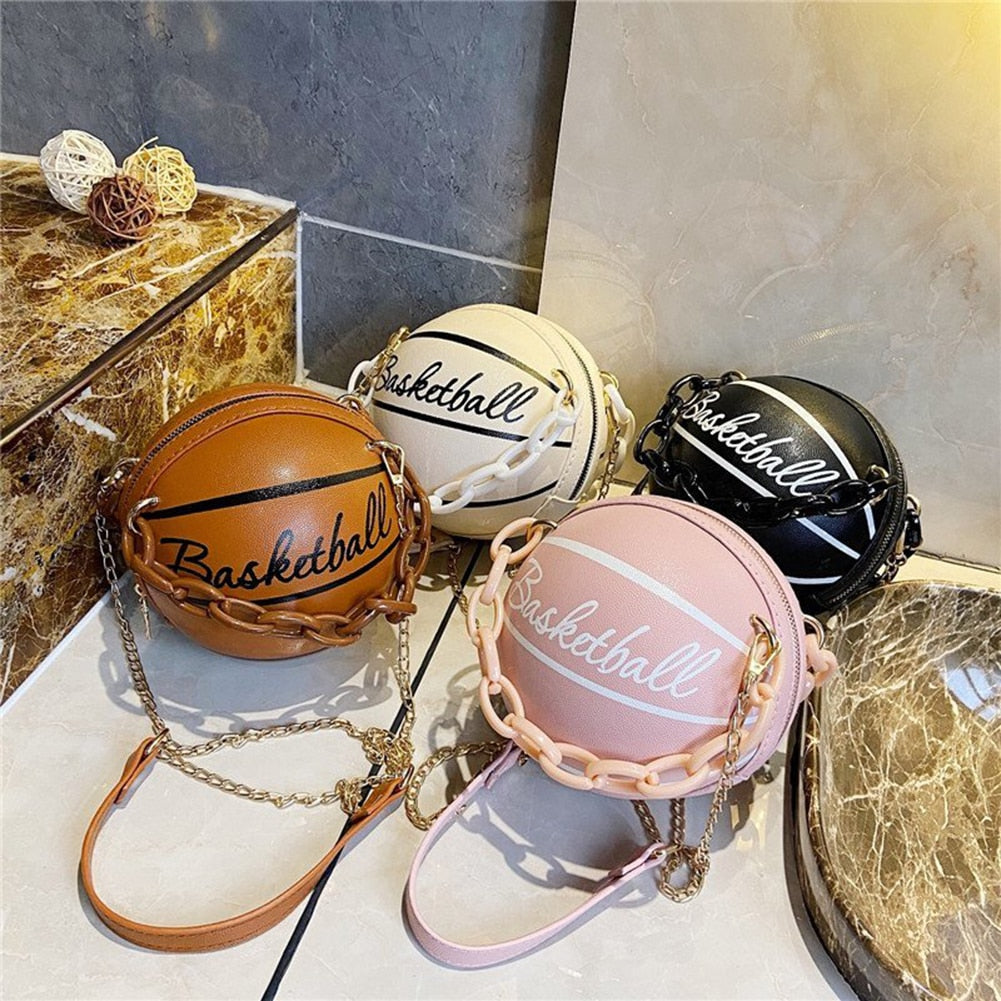 Basketball Soccer Round Shaped Leather Purse Shoulder Bag