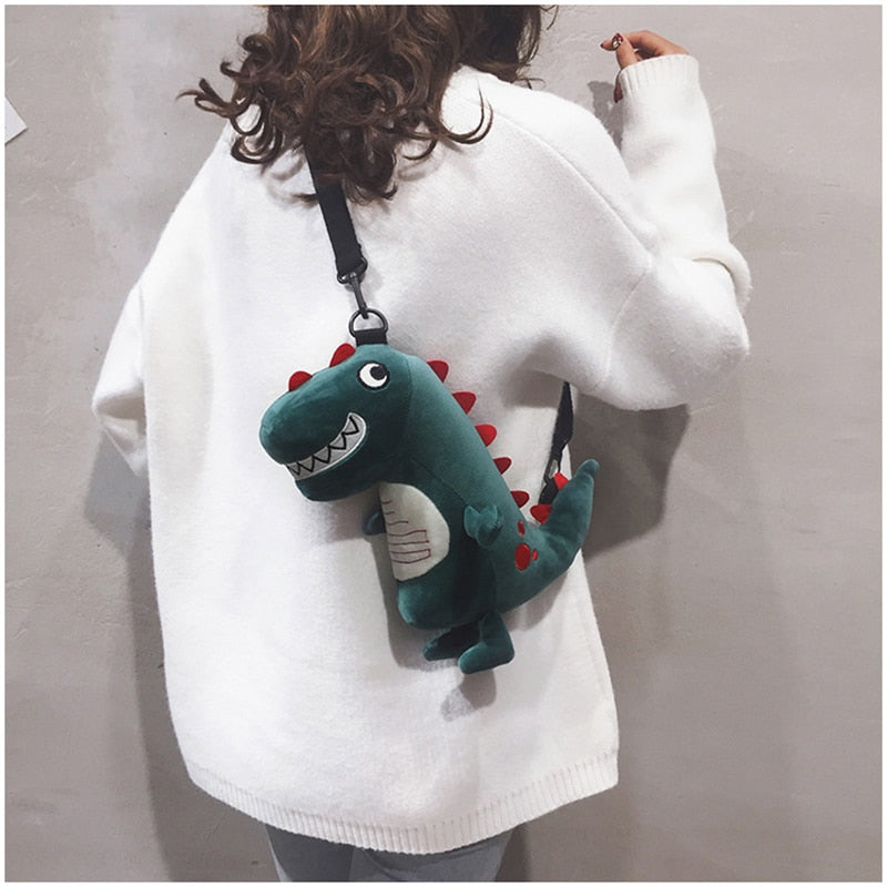 Cute Green Dinosaur Monster Plush Shoulder Bag