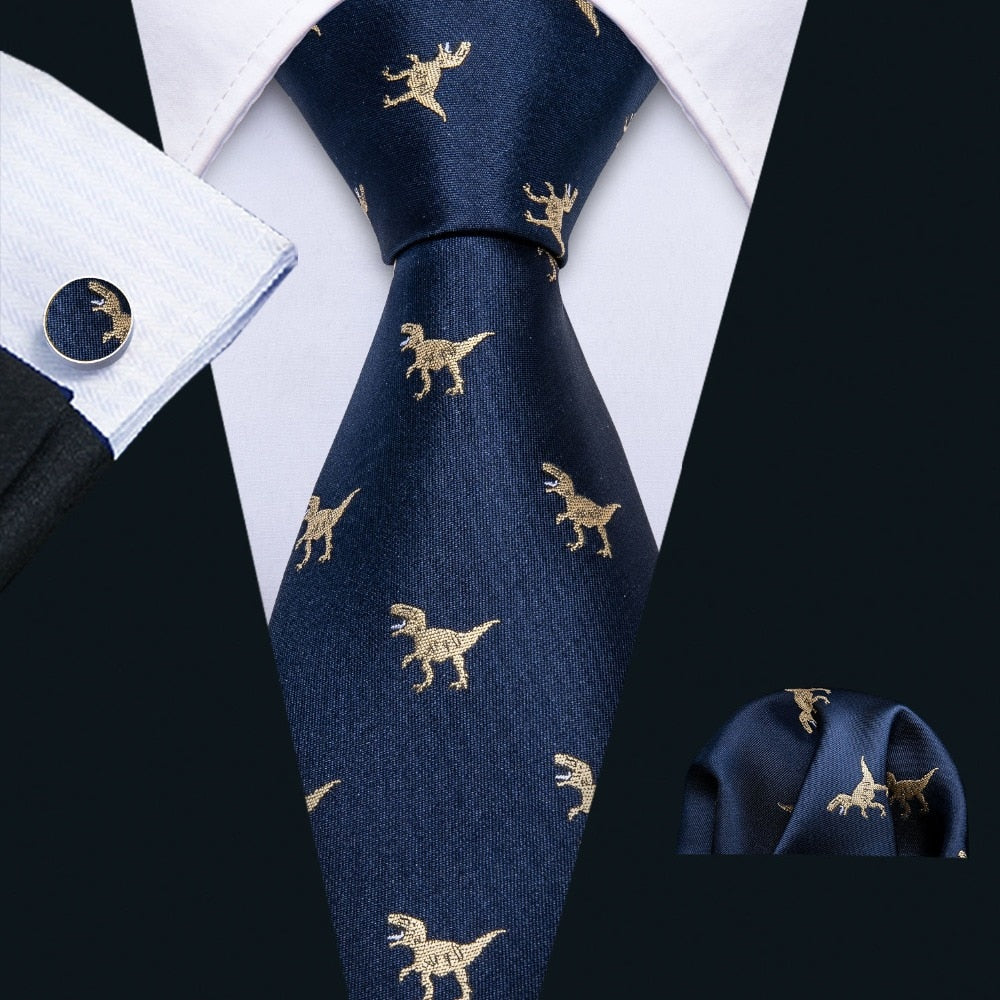 Dinosaur Pattern Navy Gold Men's Necktie Gift