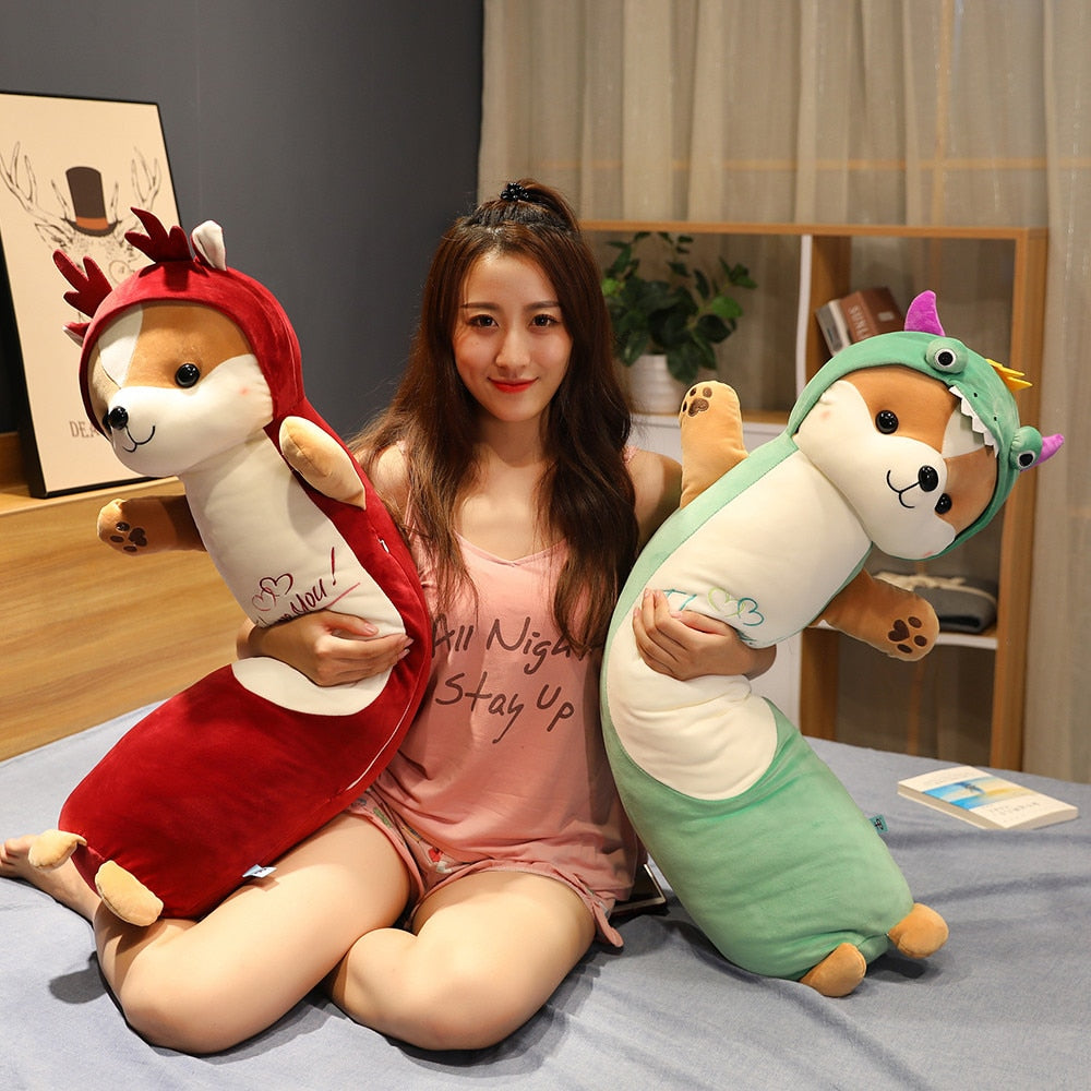 Cute Dog Cosplay Unicorn Dinosaur Suit Plush Stuffed Long Pillow Doll Gift