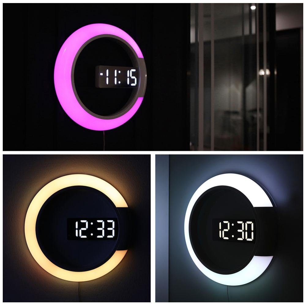 3D LED Mirror Digital Mirror Wall Clock Modern Night Light