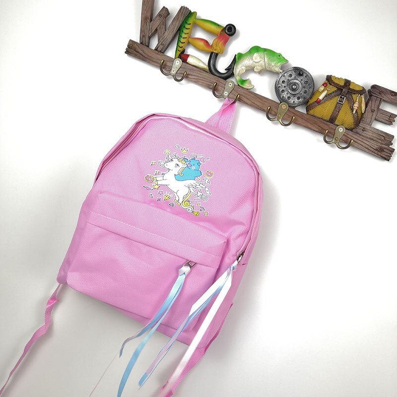 Cartoon Unicorn Candy Color Canvas Backpack