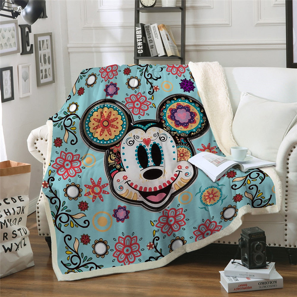 Flower Mandala Mickey Mouse rpa Fleece Blanket