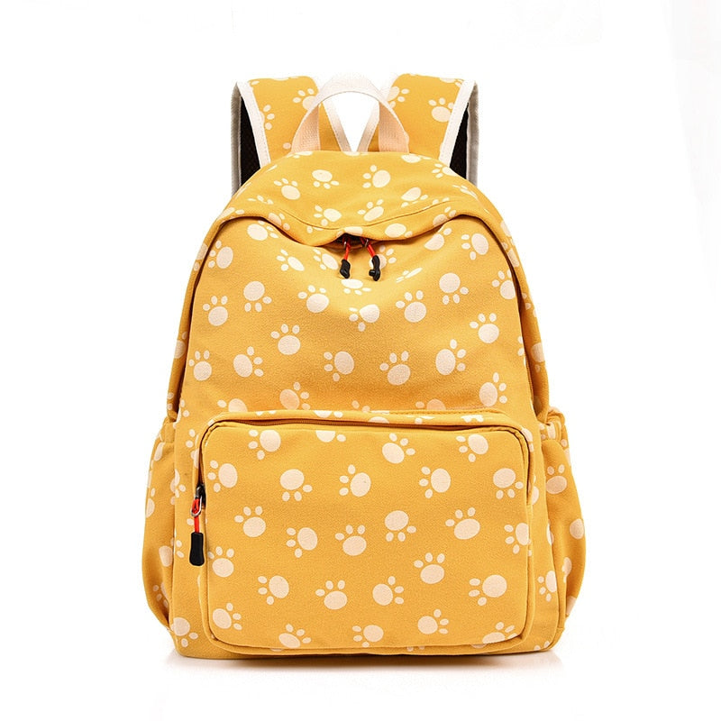 Cute Cat Foorprint Pattern Cotton Canvas Backpack School Bag