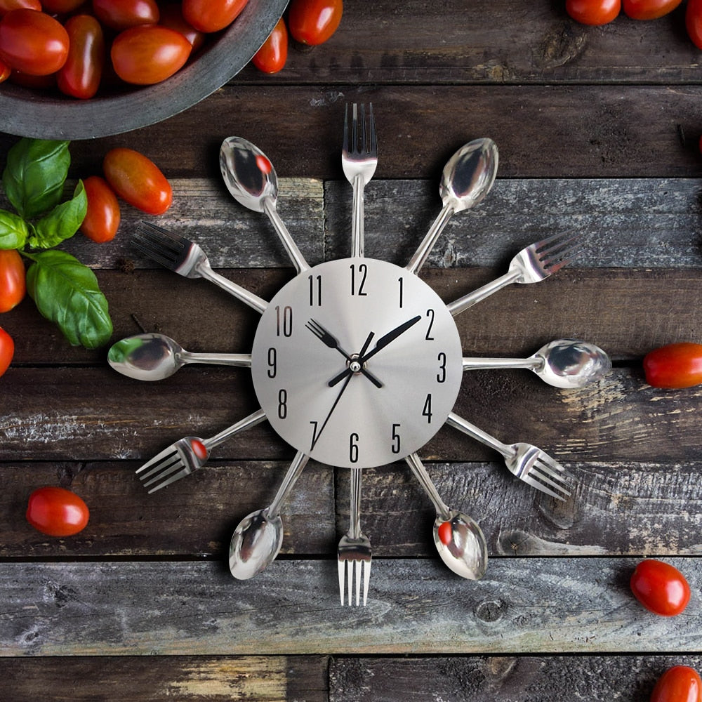 Cutlery Fork and Spoon Metal Kitchen Wall Clock