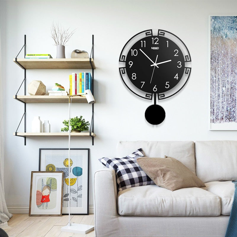 3D Swingable Large Modern Pendulum Wall Clock Living Room Home Decor